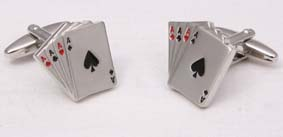 "Deluxe cuff link set in gift box- ""aces"" design"