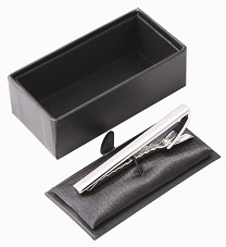 Metal tie pin silver in gift box