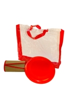 Red trim straw mat +  frisbee in pvc  carry bag with red