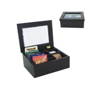 Black Wooden Tea And Sachet Chest 7 Compartments