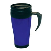 Blue Transparent Dbl. Wall Thermal Mug W/Handle (400Ml)