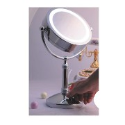 Chrome Pedestal Mirror With Magnification And Light