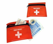 Emergency First Aid Kit In Red And White Zip Up Bag