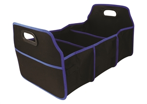 Black And Blue Trim 3 Compartment Collapsible Car Trunk Organize