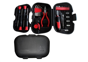 31Pc Multi-Purpose Red And Black Tool Set In Plastic Case With C