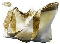 Natural Cotton & Hessian Delux Shoulder Bag - Size: 330mm x 370m