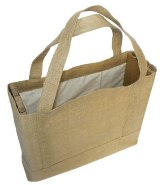 Natural Cotton & Hessian Shoulder Bag - Size: 370mm x 330mm x 12