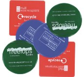 Recycled Retail Packaging Round Coasters - Printed 1 Colour - Mi