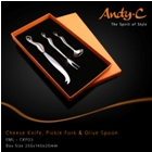 Andy C Emerge Range Cheese knife, pickle fork & olive spoon