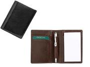 Mini Italian leather notebook holder, pen, 2 pads. Black, Brown