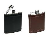 Adpel Italian Leather and metal Hip Flask.  Black; Brown