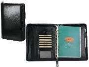 Adpel A5 Ziparound Organiser - Italian Leather complete Blk; Brn
