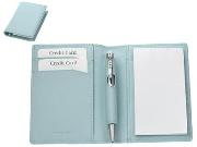 Mini Leather notebook holder,pen,2pads - Black, Pastel Pink, Blu