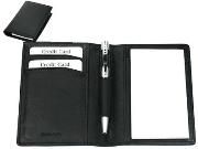 Nappa leather Mini Note Pad holder, pen and 2 pads - black