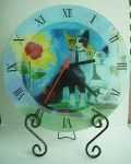 Clock & Holder Glass Cat Min Order: 8