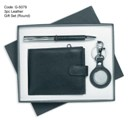 3pc Leather Gift Set (Round Key Ring)
