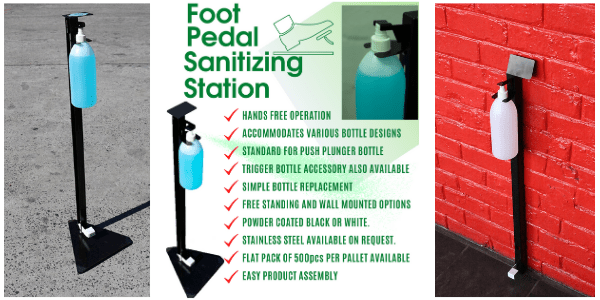 Hands free Sanitiser/Sanitizer stand with foot pedal - Min 10