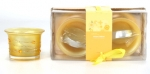 2Pc Frosted Candle Set Yellow