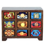 Wooden 9 Mini Drawer Cabinet Brown