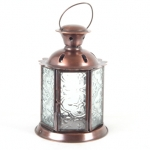 Lantern Round Patterned 12Cm Clear