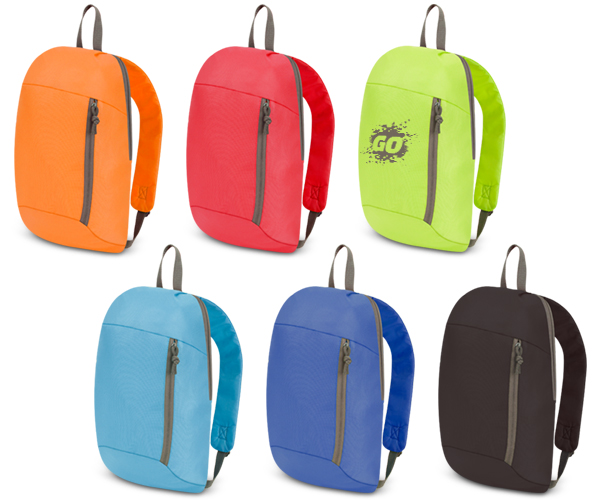 Go Backpack - Avail in: Black/Grey, Orange/Grey, Red/Grey, Royal