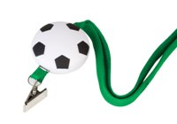 Soccer Stress Ball With Green Lanyard - Avail in: Gun Metal / Wh