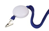 White Stress Ball With Blue Lanyard - Avail in: Blue / White