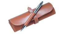 Leather Pen and Pouch Set - Brown