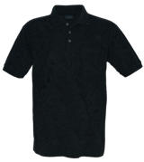 Unisex Pique Polo Shirt with Pocket - Black