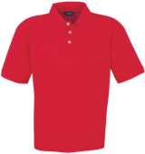 Unisex Pique Polo Shirt with Pocket - Red