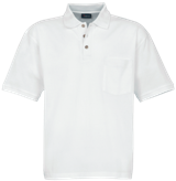 Unisex Pique Polo Shirt with Pocket - White