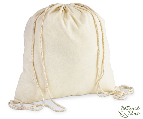 Eco-Cotton Drawstring Bag - Avail in: Natural