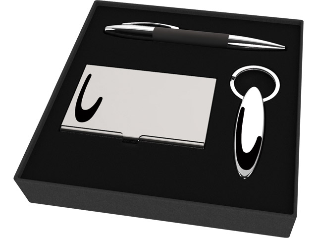 Office Gift set consisting of a card holder, metal pen and key h