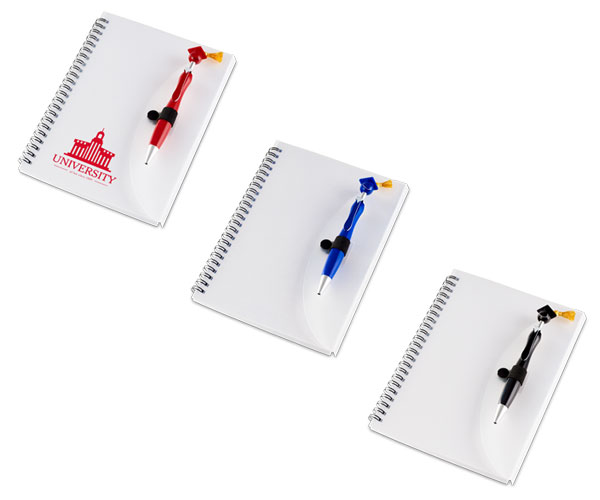 Swanky Graduation A5 Notebook And Pen - Avail in: Black, Red or