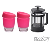 Kooshty Double Koffee Set Black Press - Avail in: White, Pink, R