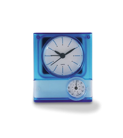 Thermometer clock in assorted colours