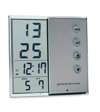 Luxury Clear Glass Clock with Alarm + Calender