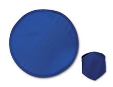 Foldable polyester frisbee presented in a polyester pouch.