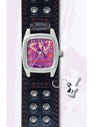 Licenced Kiddies Hm Black Lth Cuff Guitar Charm Wrist Watch