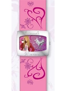 Licenced Kiddies Hm Girls Pink Lth Cuff & Dial Wrist Watch