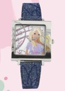 Licenced Kiddies Barbie Square Denim Cuff Wrist Watch