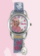 Licenced Kiddies Barbie Charm With Denim Str Rn Dl Wrist Watch