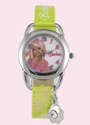 Licenced Kiddies Barbie Pink Lth Rnd Cuff Charm Wrist Watch