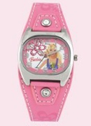 Licenced Kiddies Barbie Pink Lth Cuff Rec Dial Wrist Watch