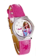 Licenced Kiddies Barbie Pink Strap White Dial Wrist Watch