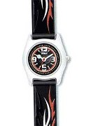Jacques Farel Boys Dynamic Black Flame Strap Wrist Watch