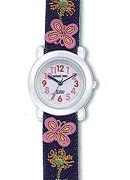 Jacques Farel Girls Demin Strap & Butterfly Wrist Watch