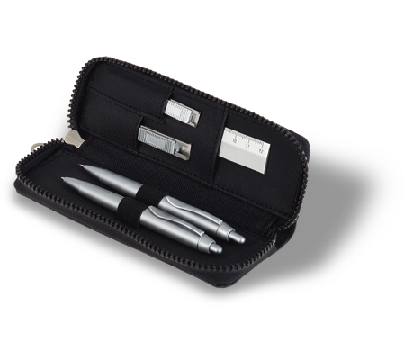Pen, pencil, aluminium ruler,eraser, cutter in luxury pouch