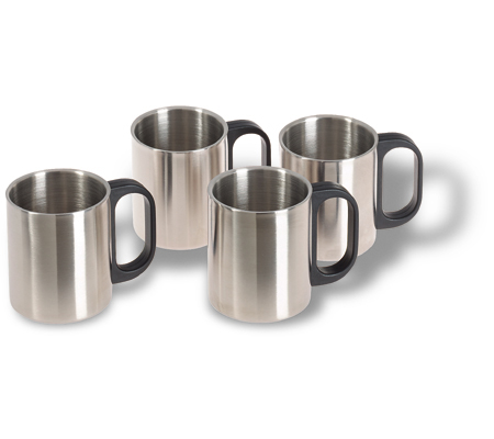 Set of 4 metal mugs - Stainless steel