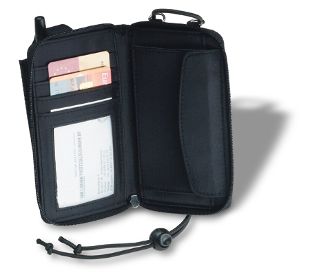 Wallet with hang cord and mobile phone pocket